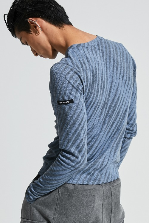 Oblique pattern long sleeves (sky blue)